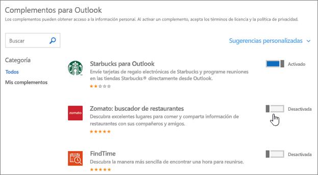 Captura de pantalla de la página de Outlook, donde puede ver los complementos complementos instalados, busque y seleccione más complementos.