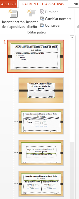 La miniatura en la parte superior es el patrón de diapositivas.