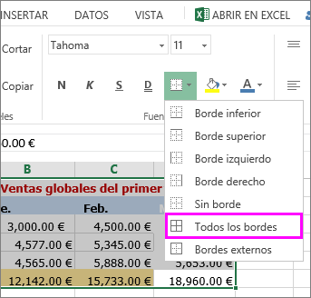 agregar un borde a una tabla o rango de datos