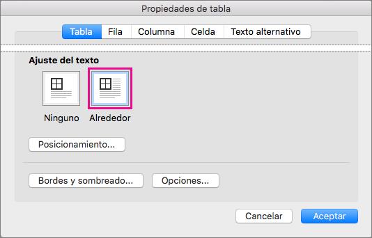 Haga clic en Alrededor para ajustar el texto alrededor de la tabla seleccionada.