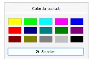 Colores de resaltado