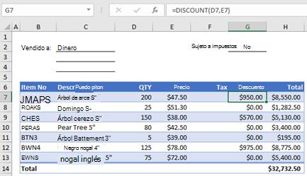 Formulario de pedido de ejemplo con una función personalizada