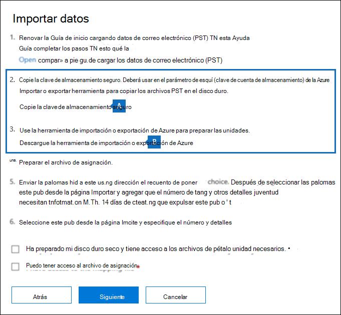 Copie la clave de almacenamiento seguro y descargue la herramienta de Azure importar exportar en la página de datos de importación