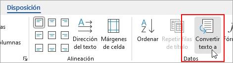 La opción Convertir en texto está resaltada en la pestaña Diseño de herramientas de tabla.