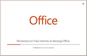 Progreso de la instalación de la aplicación de Office