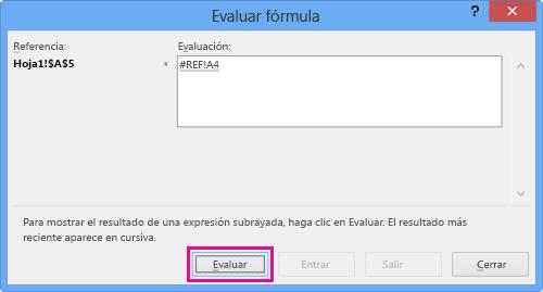 cuadro de diálogo Evaluar fórmula