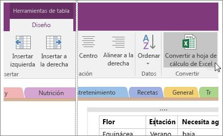 Captura de pantalla del botón Convertir en hoja de cálculo de Excel en OneNote 2016.