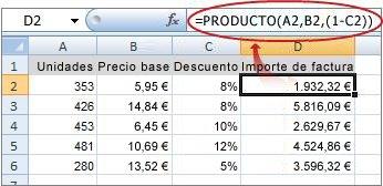 La fórmula se muestra en la barra de fórmulas