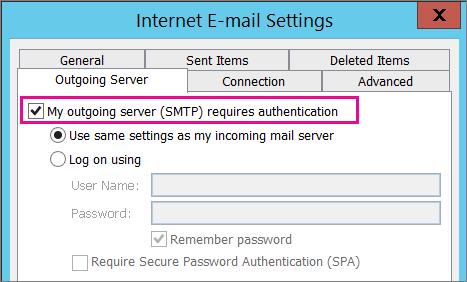 Elija la opción El servidor de correo saliente requiere autenticación.