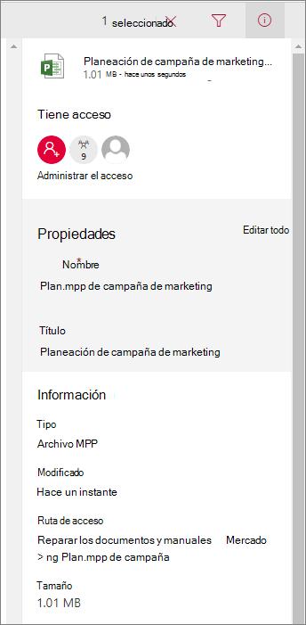 Ver información de archivo