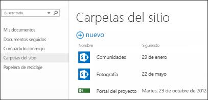 Seleccione Carpetas de sitio en la barra de acción rápida de Office 365 para ver la lista de sitios de SharePoint Online que está siguiendo.