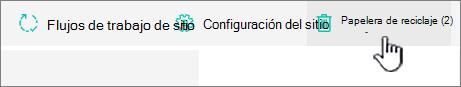 Botón reciclar de la página contenido del sitio de SharePoint Online