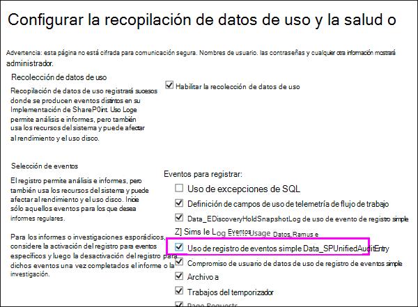 Opción para activar los registros de uso DLP