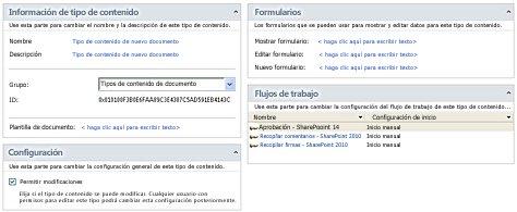 página de resumen de Tipo de contenido