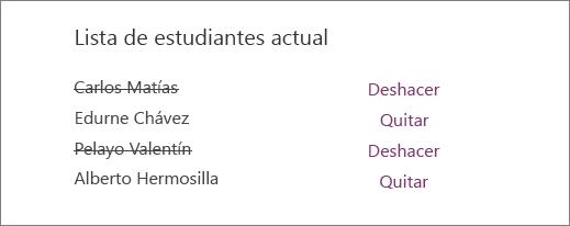 Los nombres de los alumnos quitados están tachados en la lista de alumnos existente, con opciones para deshacer y quitar junto a todos los nombres.