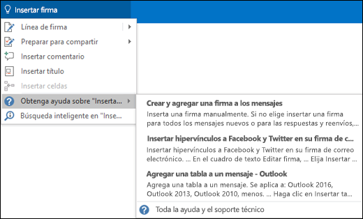 Escriba lo que le gustaría hacer en el cuadro Información en Outlook y este le ayudará con la tarea