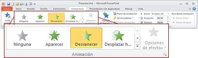 Pestaña Animaciones en la cinta de PowerPoint2010