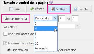 Ajuste y control del tamaño de página