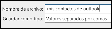 Asígnele un nombre al archivo de contactos.