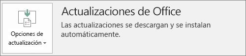 Captura de pantalla de las actualizaciones de Office en la cuenta de la aplicación de Office