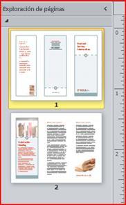 Tríptico de dos páginas mostrado en el panel de navegación de Publisher 2010