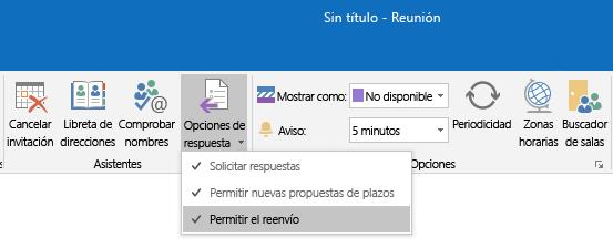 Permitir la opción de reenvío en Outlook