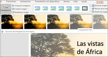 Diapositiva con opciones de transparencia en la pestaña Formato