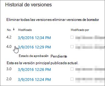 Historial de versiones con una versión secundaria eliminada
