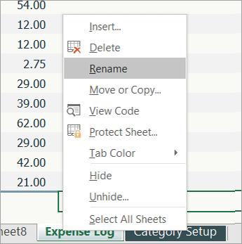 Captura de pantalla del elemento de menú Cambiar nombre