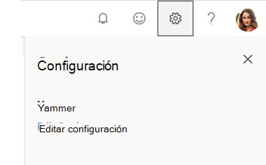Menú configuración de Yammer