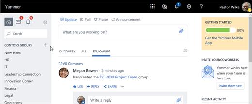 Captura de pantalla de página de inicio Yammer.com