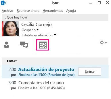 Vista Reuniones en la ventana principal de Lync