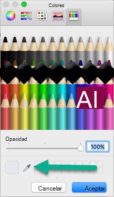 El cuadro de diálogo colores incluye una herramienta Cuentagotas.