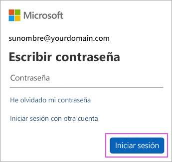 Escriba su contraseña de Outlook.com