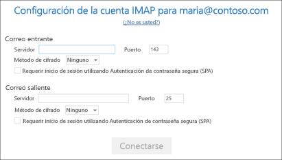 Introduzca la información del servidor de correo electrónico