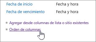 Orden de columnas de tipo de contenido de lista