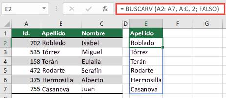 Use = BUSCARV (a2: A7, A:C, 2, falso) para devolver una matriz dinámica que no producirá un #SPILL. .