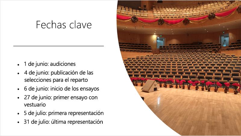 Diapositiva de ejemplo con una escala de tiempo de texto y una foto que Ideas de diseño organizó y diseñó.