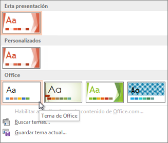 Elegir el tema de Office