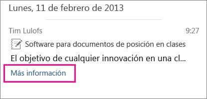 Captura de pantalla de MI de artículo contraído con el indicador Obtener más información resaltado