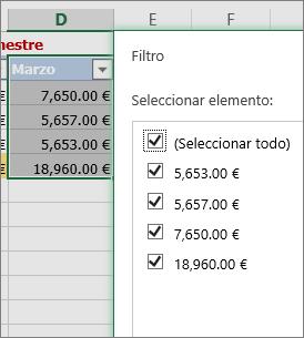 Opción de filtro de números personalizado