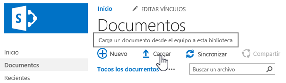 Biblioteca de documentos con el botón Cargar resaltado