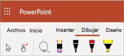 Muestra lápiz de tinta, marcador de resaltado y colores