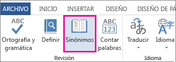 Comando Diccionario de sinónimos en las herramientas de revisión de la pestaña revisar