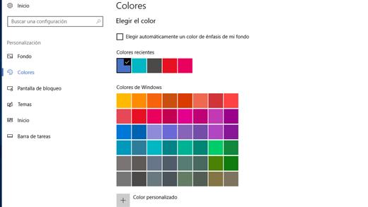 Colores de énfasis en la configuración de personalización