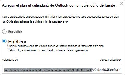 Captura de pantalla del cuadro de diálogo Agregar plan a calendario de Outlook