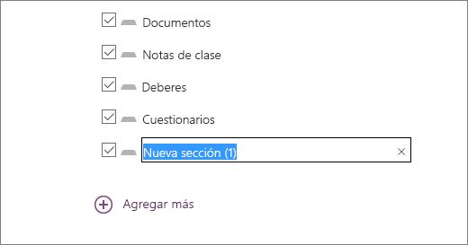 Revise las secciones del bloc de notas en el Asistente para bloc de notas de clase, como Documentos, Notas de clase, Deberes y Cuestionarios.