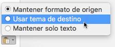 Opciones de pegado al pegar texto en Outlook para Mac