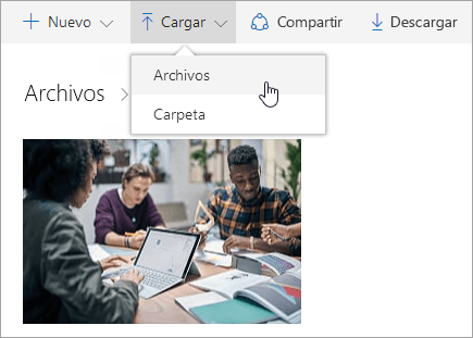 Captura de pantalla que muestra dónde cargar archivos en OneDrive