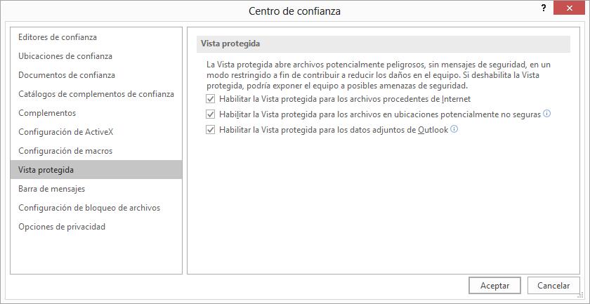 Configuración de la Vista protegida del Centro de confianza